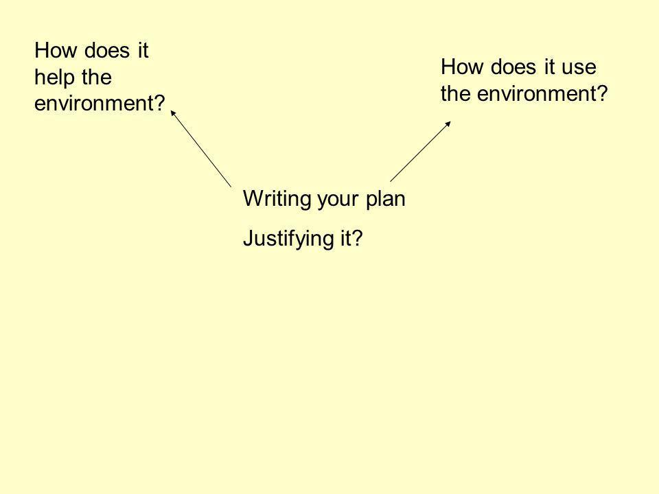 Writing your plan Justifying it How does it help the environment How does it use the environment