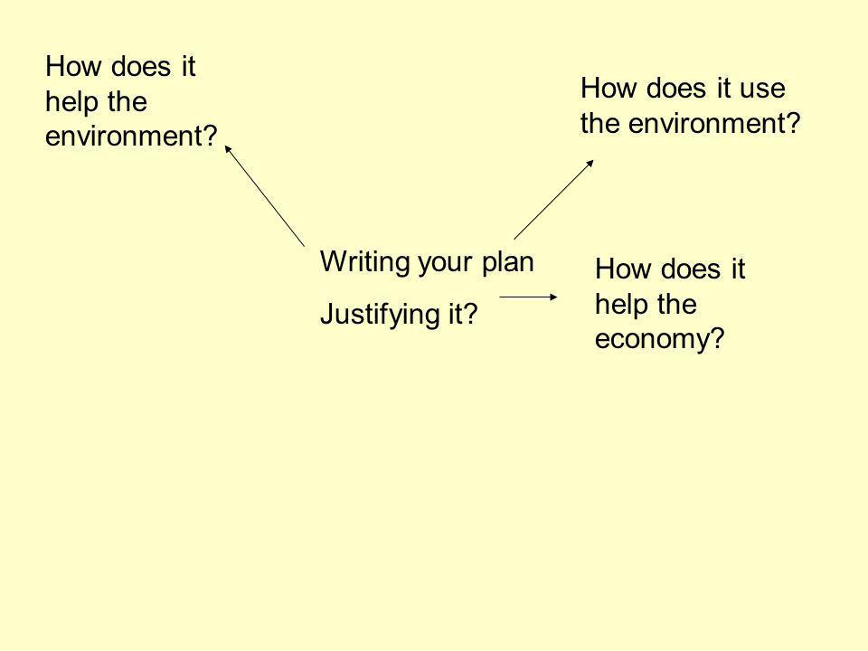 Writing your plan Justifying it? How does it help the environment? How does it use the environment? How does it help the economy?