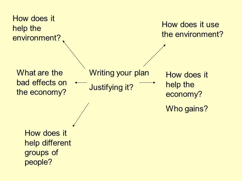 Writing your plan Justifying it. How does it help the environment.