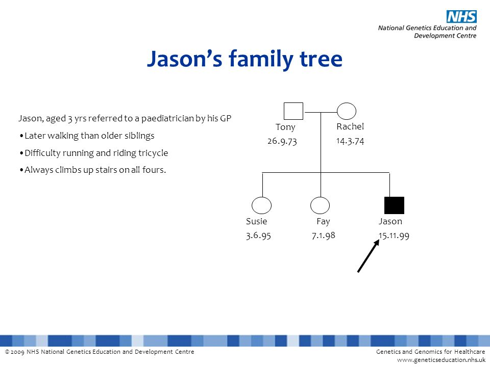 © 2009 NHS National Genetics Education and Development CentreGenetics and Genomics for Healthcare www.geneticseducation.nhs.uk Jasons family tree Jaso