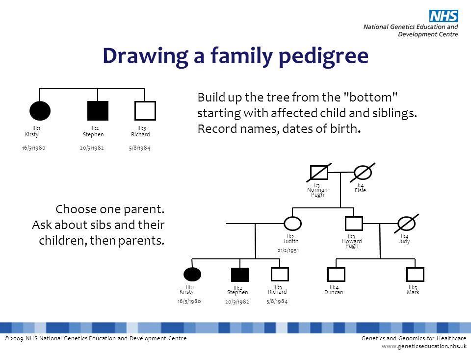 © 2009 NHS National Genetics Education and Development CentreGenetics and Genomics for Healthcare www.geneticseducation.nhs.uk Drawing a family pedigr