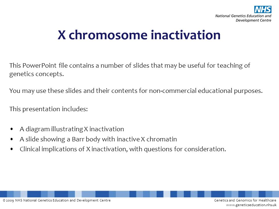 © 2009 NHS National Genetics Education and Development CentreGenetics and Genomics for Healthcare www.geneticseducation.nhs.uk X chromosome inactivati