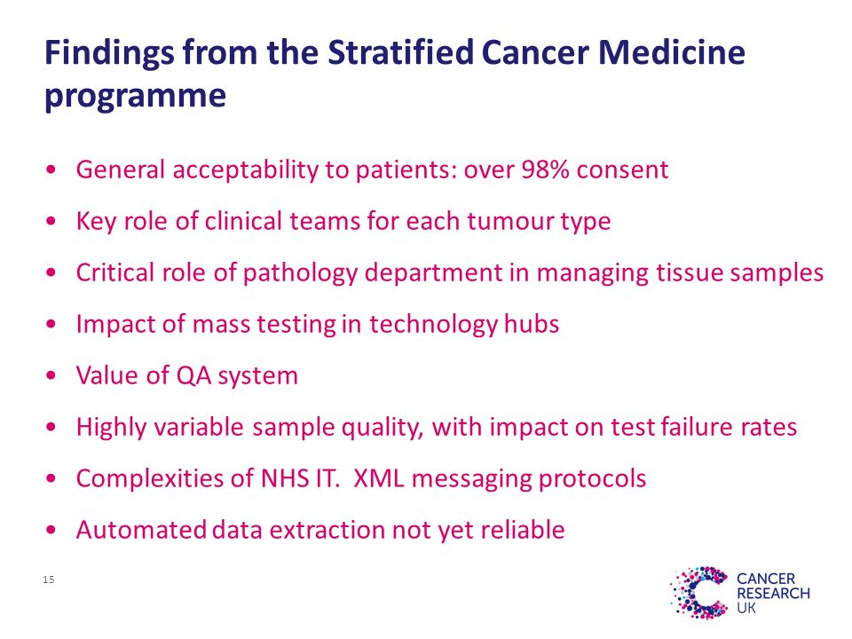Findings from the Stratified Cancer Medicine programme General acceptability to patients: over 98% consent Key role of clinical teams for each tumour type Critical role of pathology department in managing tissue samples Impact of mass testing in technology hubs Value of QA system Highly variable sample quality, with impact on test failure rates Complexities of NHS IT.