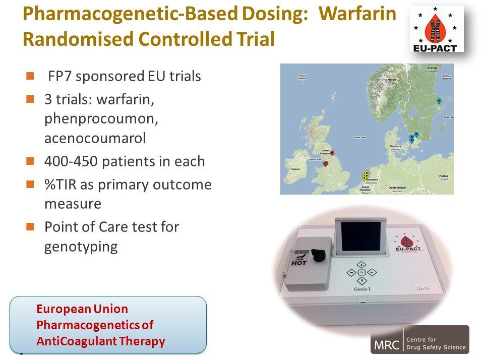 Pharmacogenetic-Based Dosing: Warfarin Randomised Controlled Trial FP7 sponsored EU trials 3 trials: warfarin, phenprocoumon, acenocoumarol 400-450 pa
