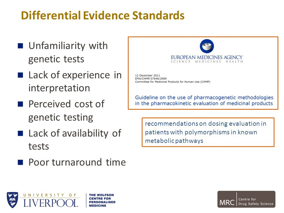 Differential Evidence Standards Unfamiliarity with genetic tests Lack of experience in interpretation Perceived cost of genetic testing Lack of availa