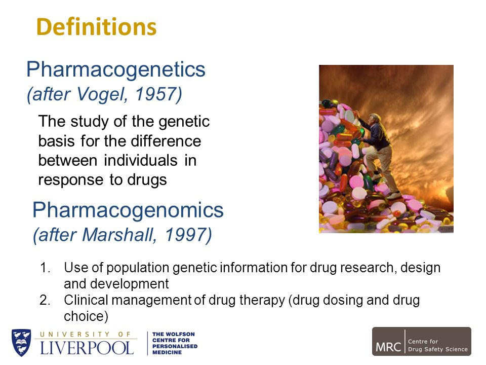 Definitions The study of the genetic basis for the difference between individuals in response to drugs Pharmacogenetics (after Vogel, 1957) 1.Use of p