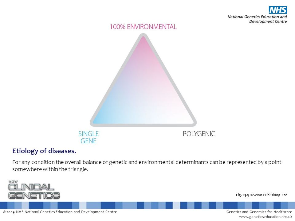 © 2009 NHS National Genetics Education and Development CentreGenetics and Genomics for Healthcare www.geneticseducation.nhs.uk Classification of genetic disorders Multifactorial Single gene Chromosomal Mitochondrial Somatic mutations (cancer) Male + environment