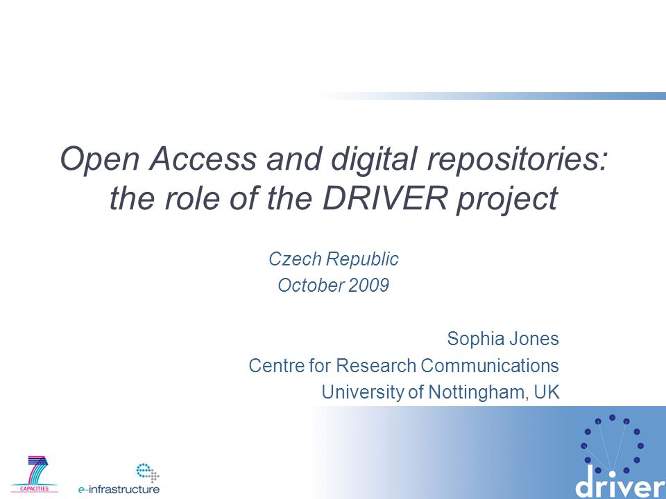 Institutional Repositories Promoting self archiving: –Set up and maintain institutional repository –Advocate Open Access and help researchers deposit their research papers –Implement open access policies