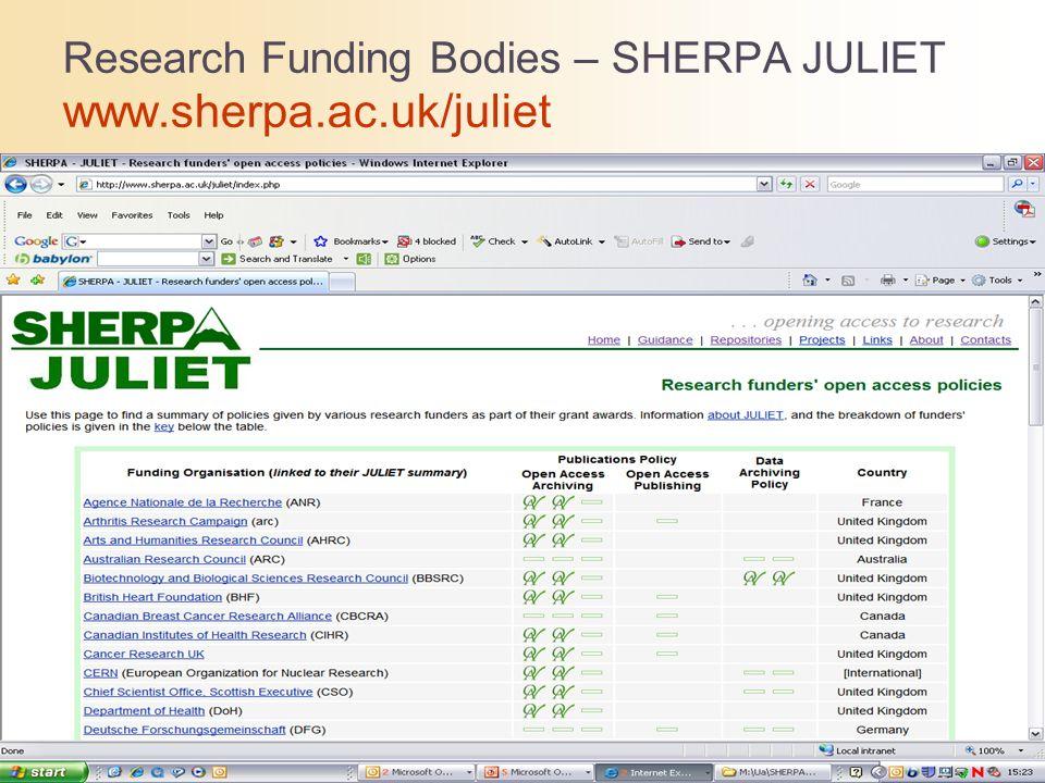 Research Funding Bodies – SHERPA JULIET www.sherpa.ac.uk/juliet