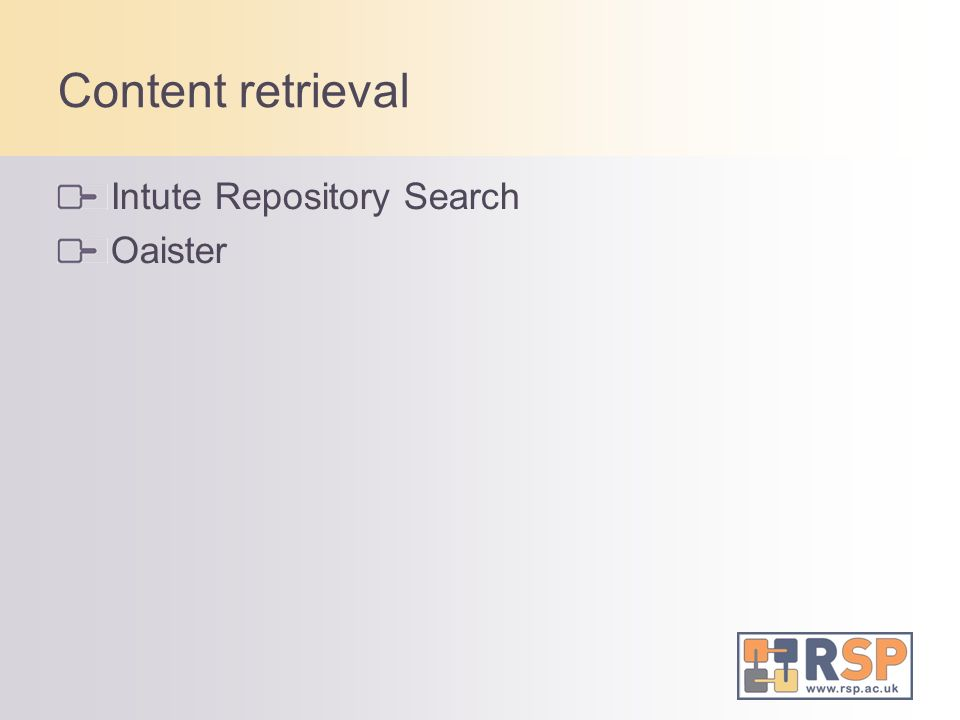 Content retrieval Intute Repository Search Oaister