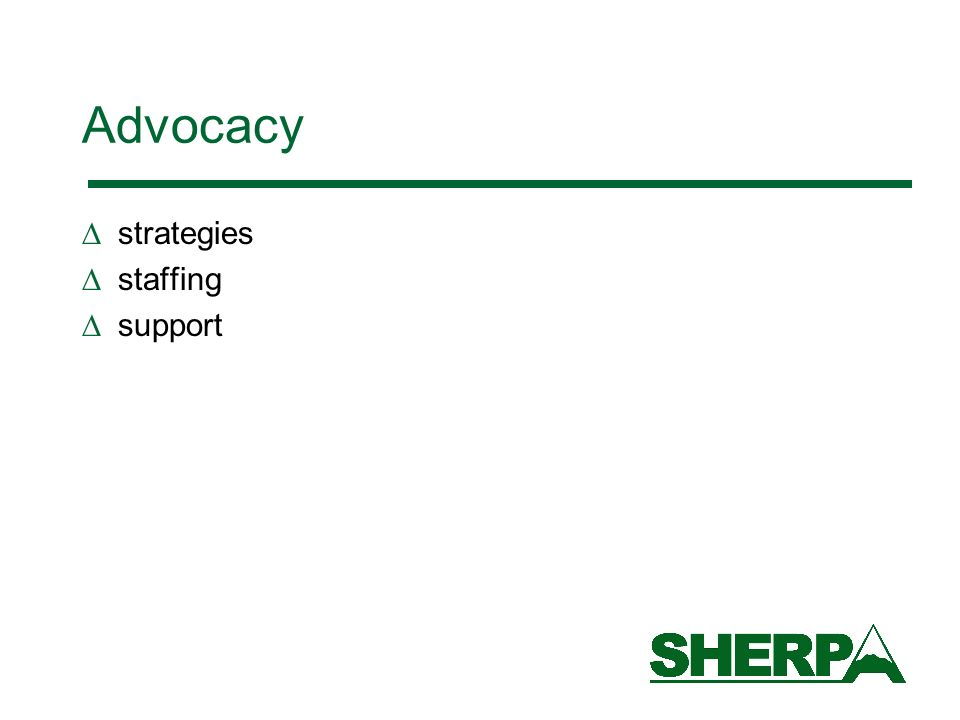 Advocacy strategies staffing support