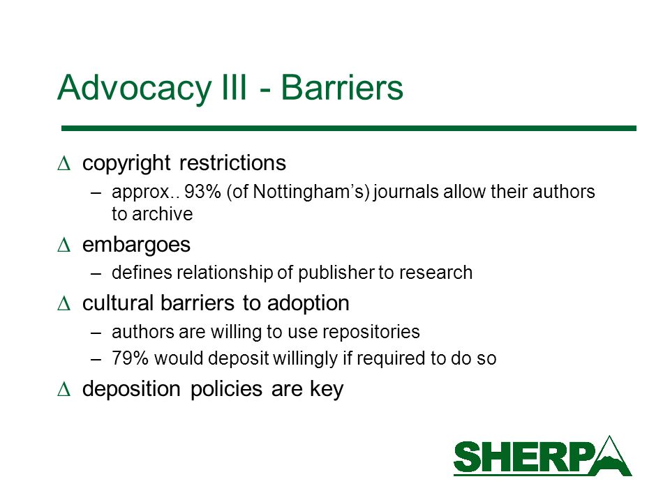 Advocacy III - Barriers copyright restrictions –approx..