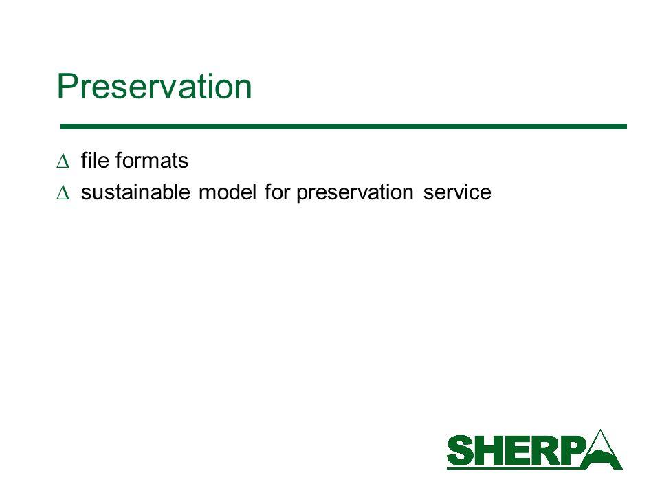 Preservation file formats sustainable model for preservation service