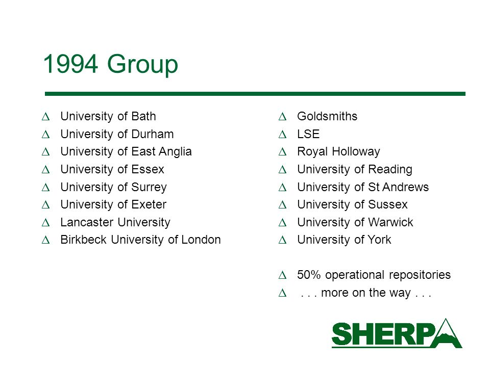 1994 Group University of Bath University of Durham University of East Anglia University of Essex University of Surrey University of Exeter Lancaster University Birkbeck University of London Goldsmiths LSE Royal Holloway University of Reading University of St Andrews University of Sussex University of Warwick University of York 50% operational repositories...