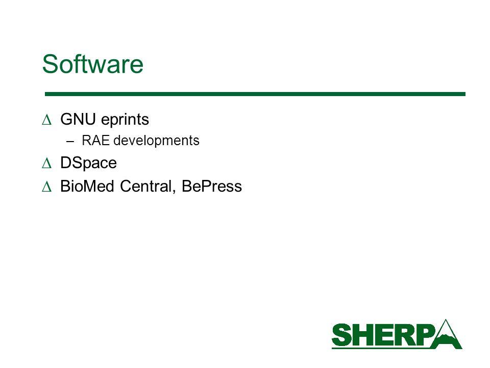 Software GNU eprints –RAE developments DSpace BioMed Central, BePress