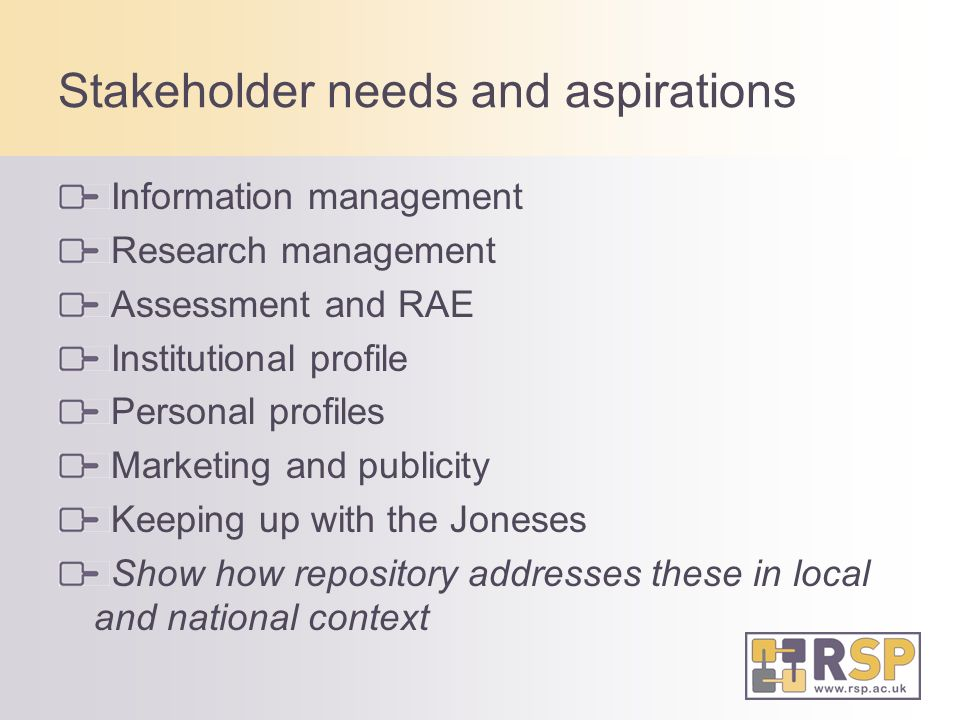 Stakeholder needs and aspirations Information management Research management Assessment and RAE Institutional profile Personal profiles Marketing and publicity Keeping up with the Joneses Show how repository addresses these in local and national context