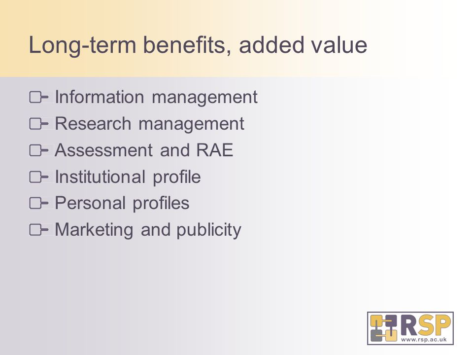 Long-term benefits, added value Information management Research management Assessment and RAE Institutional profile Personal profiles Marketing and publicity