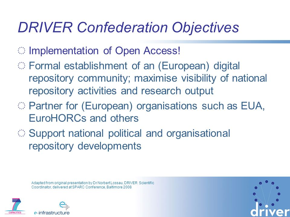 DRIVER Confederation Objectives Implementation of Open Access.