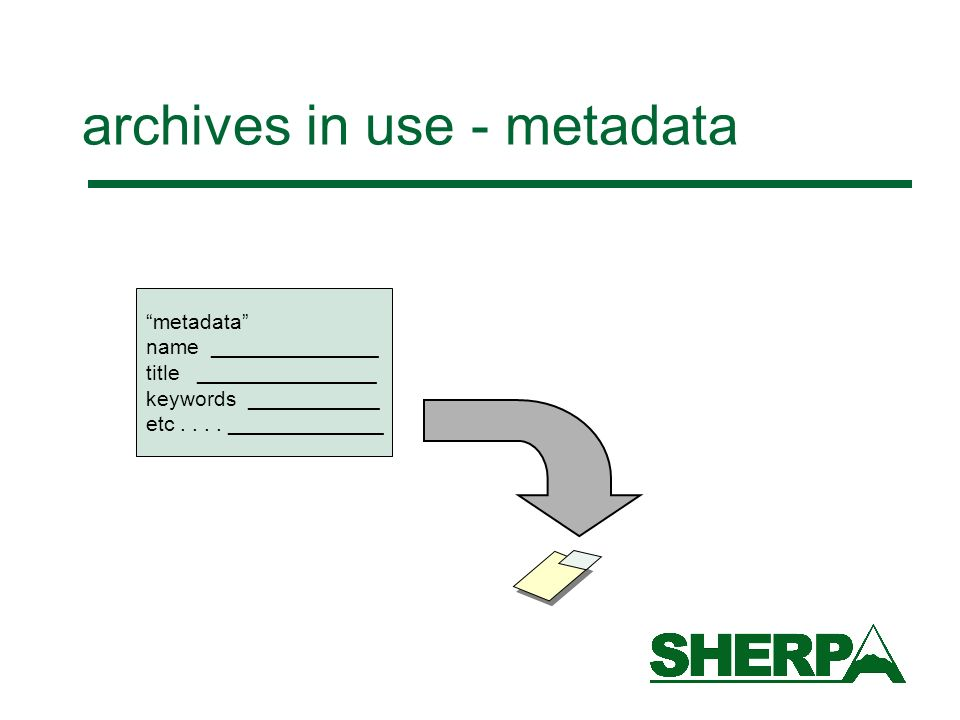 archives in use - metadata metadata name ______________ title _______________ keywords ___________ etc....