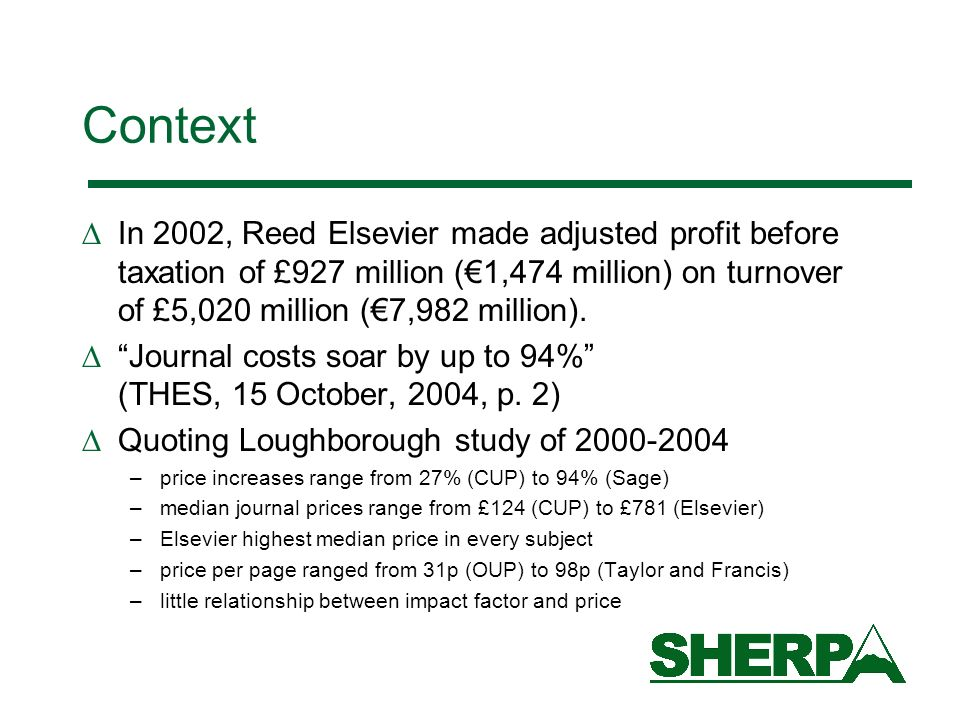 Context In 2002, Reed Elsevier made adjusted profit before taxation of £927 million (1,474 million) on turnover of £5,020 million (7,982 million).