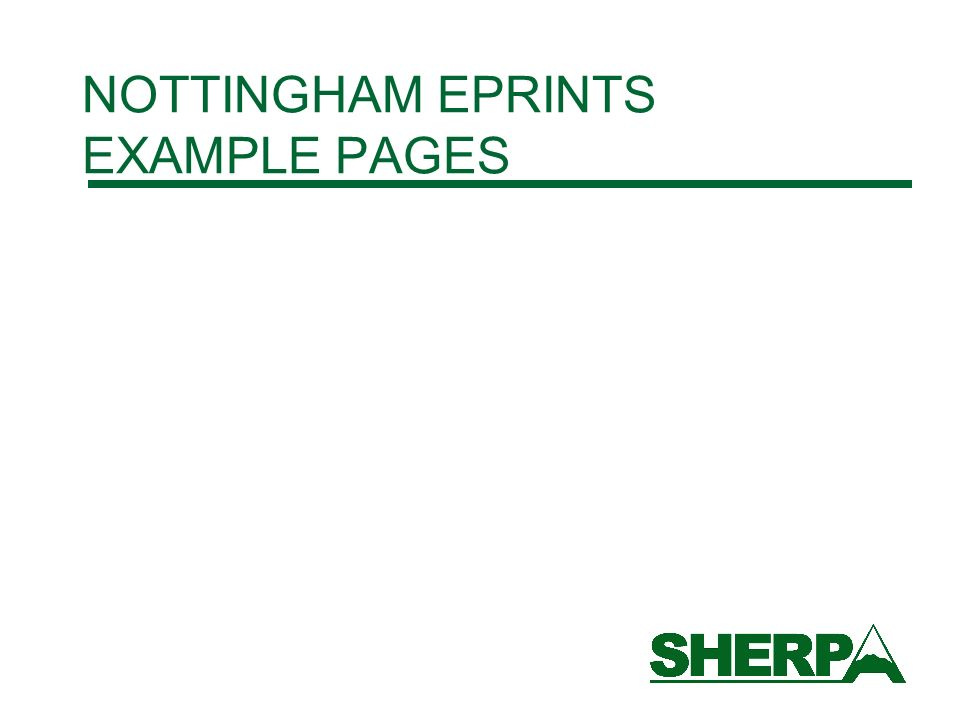 NOTTINGHAM EPRINTS EXAMPLE PAGES