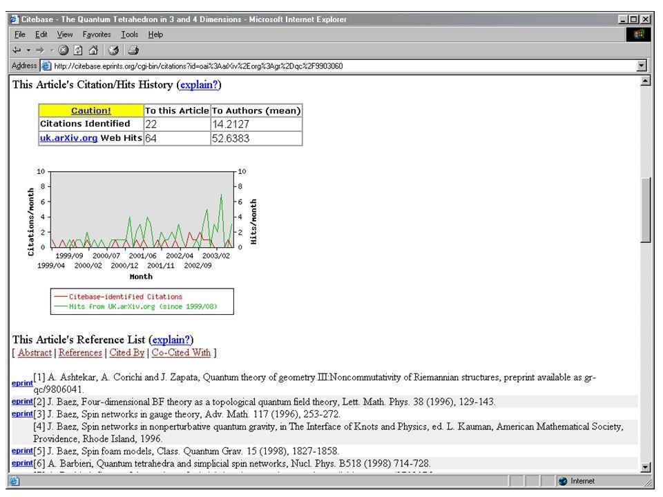 Citebase - citation analysis