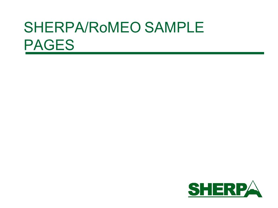 SHERPA/RoMEO SAMPLE PAGES