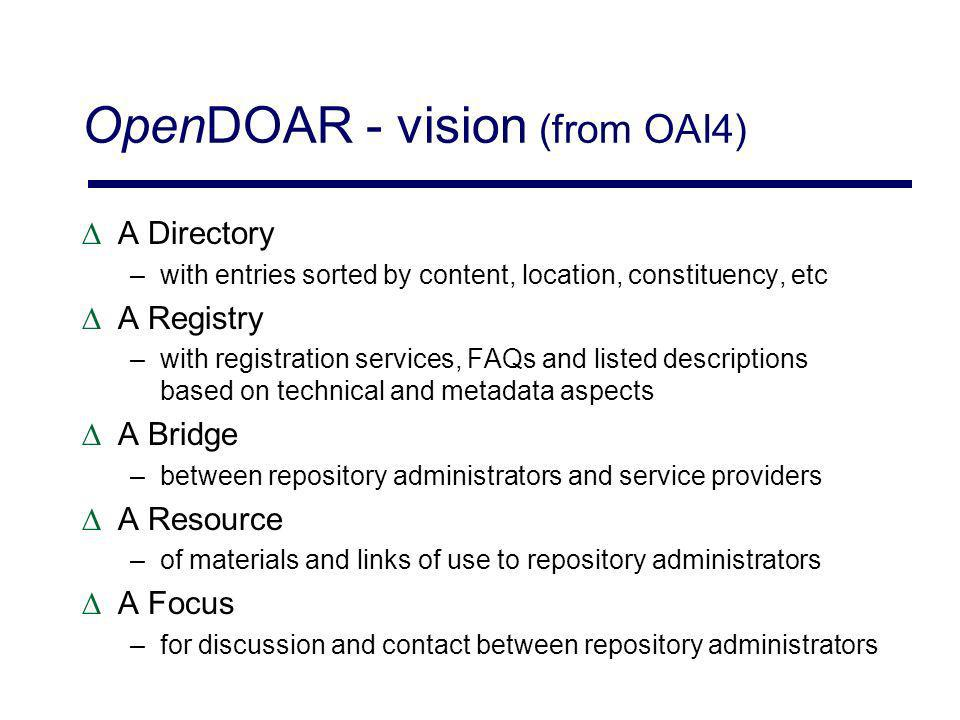 OpenDOAR - vision (from OAI4) A Directory –with entries sorted by content, location, constituency, etc A Registry –with registration services, FAQs and listed descriptions based on technical and metadata aspects A Bridge –between repository administrators and service providers A Resource –of materials and links of use to repository administrators A Focus –for discussion and contact between repository administrators