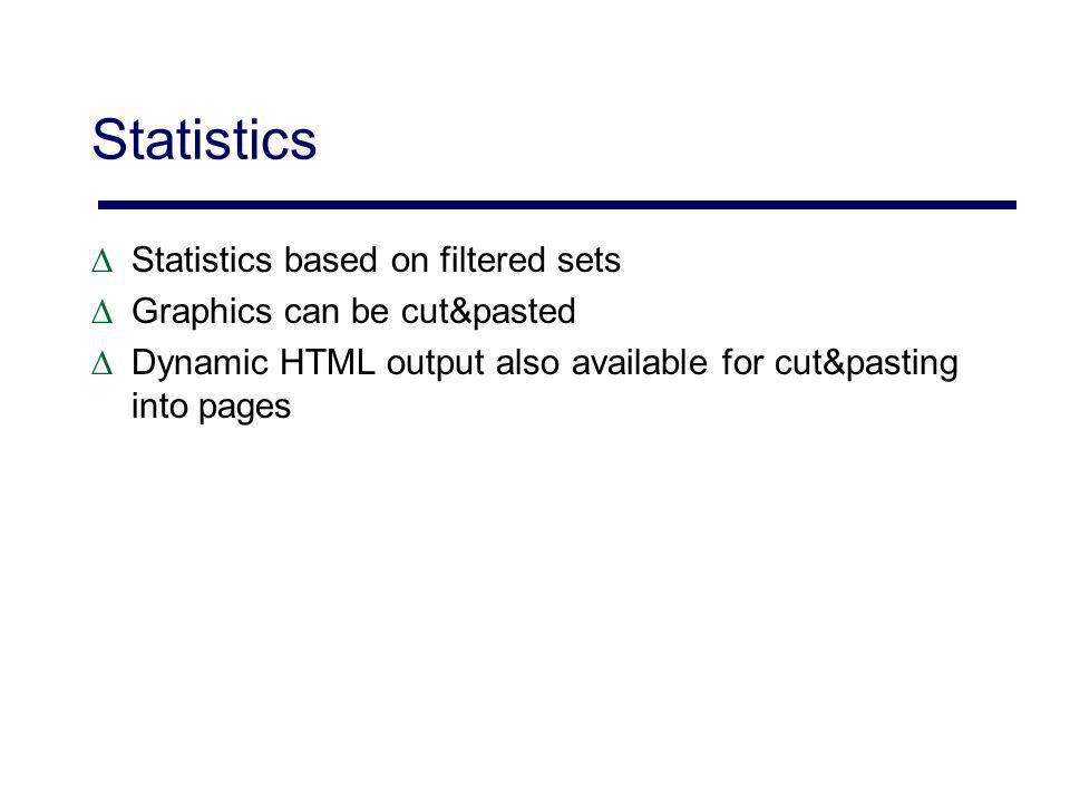 Statistics Statistics based on filtered sets Graphics can be cut&pasted Dynamic HTML output also available for cut&pasting into pages