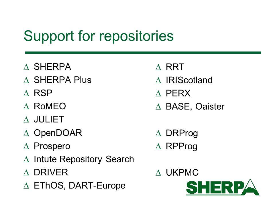 Support for repositories SHERPA SHERPA Plus RSP RoMEO JULIET OpenDOAR Prospero Intute Repository Search DRIVER EThOS, DART-Europe RRT IRIScotland PERX