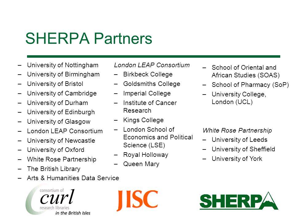 SHERPA Partners –University of Nottingham –University of Birmingham –University of Bristol –University of Cambridge –University of Durham –University