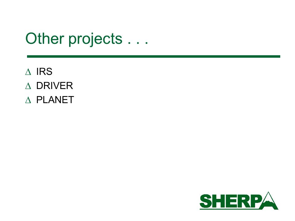 Other projects... IRS DRIVER PLANET