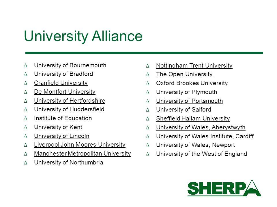 University Alliance University of Bournemouth University of Bradford Cranfield University De Montfort University University of Hertfordshire Universit