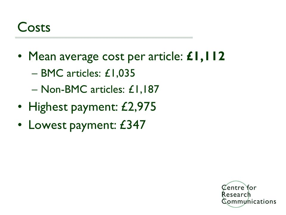 Costs Mean average cost per article: £1,112 –BMC articles: £1,035 –Non-BMC articles: £1,187 Highest payment: £2,975 Lowest payment: £347
