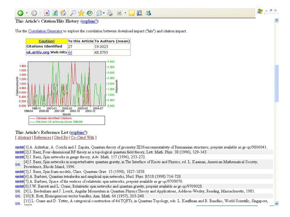 Citebase - citation analysis