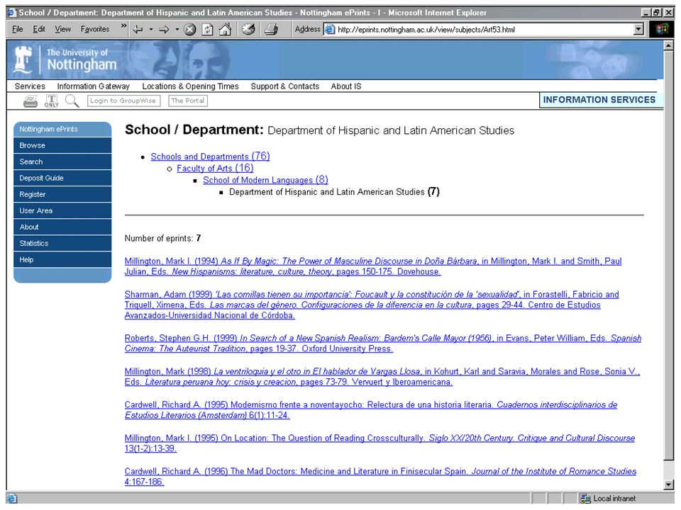 Department page