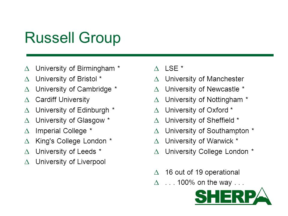 Russell Group University of Birmingham * University of Bristol * University of Cambridge * Cardiff University University of Edinburgh * University of
