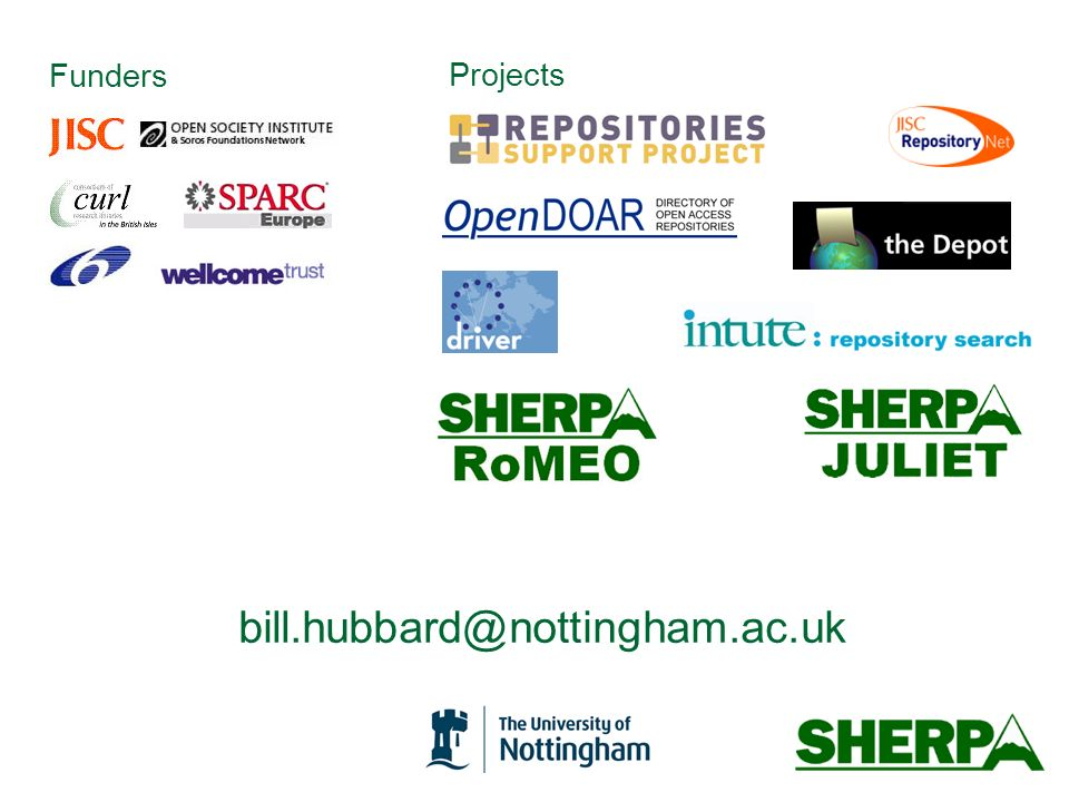 bill.hubbard@nottingham.ac.uk Funders Projects