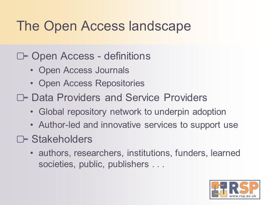 The Open Access landscape Open Access - definitions Open Access Journals Open Access Repositories Data Providers and Service Providers Global reposito