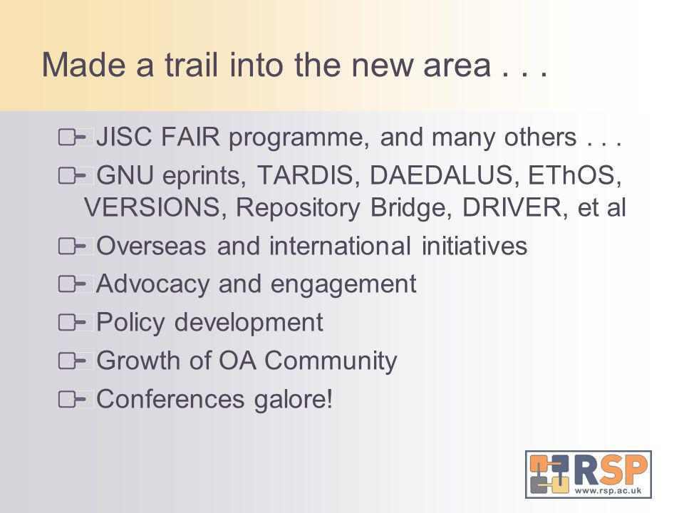Made a trail into the new area... JISC FAIR programme, and many others... GNU eprints, TARDIS, DAEDALUS, EThOS, VERSIONS, Repository Bridge, DRIVER, e