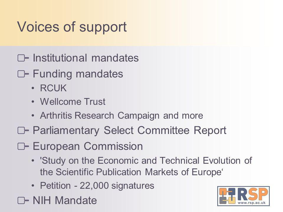 Voices of support Institutional mandates Funding mandates RCUK Wellcome Trust Arthritis Research Campaign and more Parliamentary Select Committee Repo