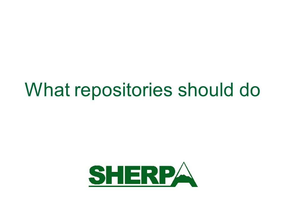 What repositories should do