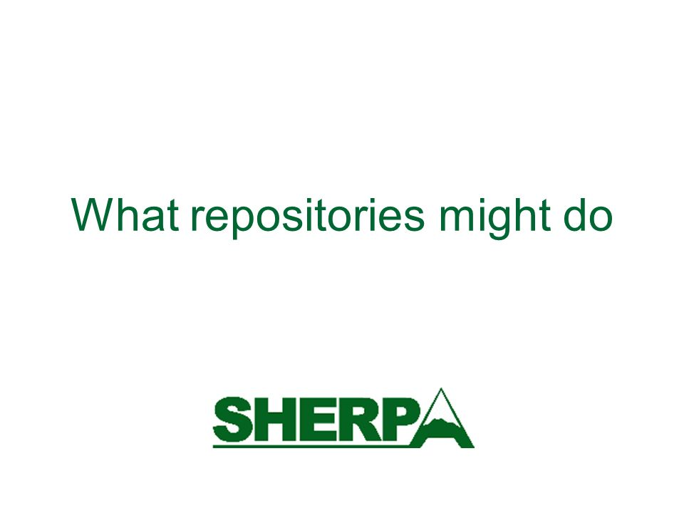 What repositories might do