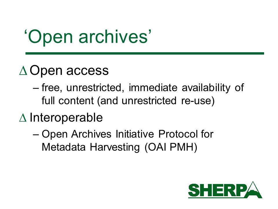 OAI Protocol: key concepts End User Data Providers Service Provider Harvester