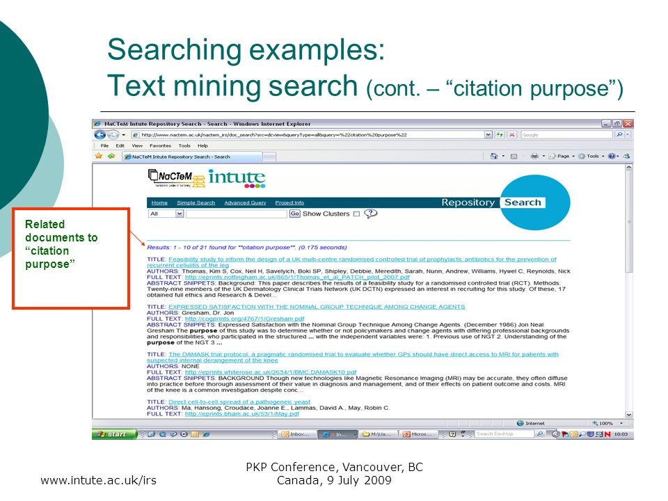 www.intute.ac.uk/irs PKP Conference, Vancouver, BC Canada, 9 July 2009 Searching examples: Text mining search (cont.