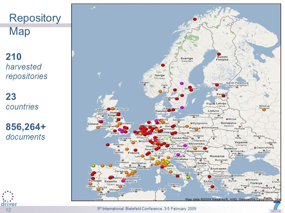 9 th International Bielefeld Conference, 3-5 February 2009 12 Repository Map 210 harvested repositories 23 countries 856,264+ documents