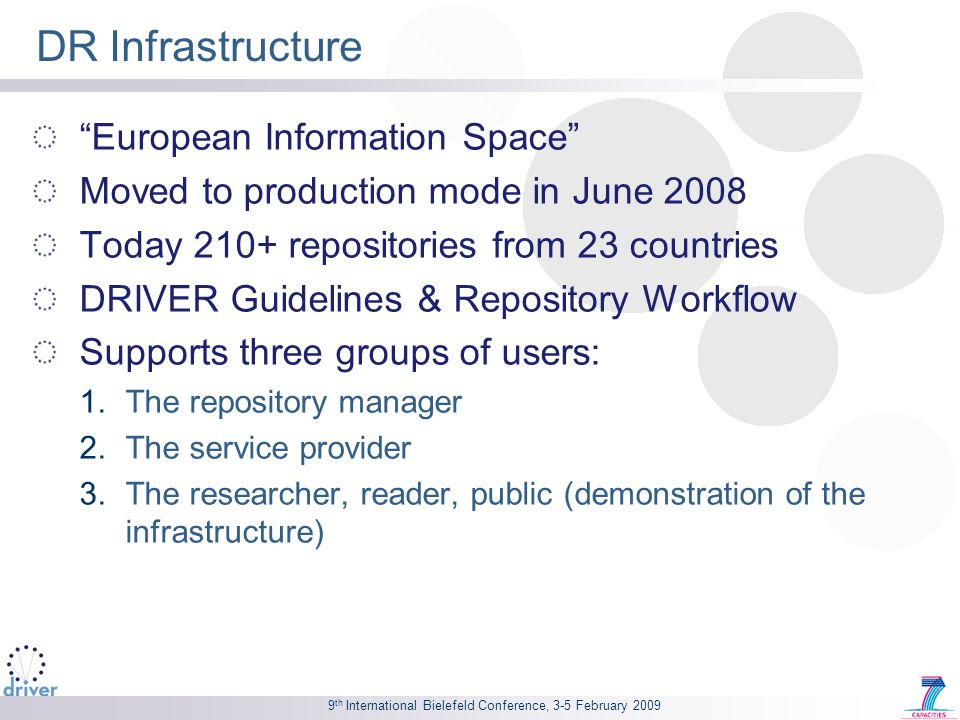 9 th International Bielefeld Conference, 3-5 February 2009 DR Infrastructure European Information Space Moved to production mode in June 2008 Today 210+ repositories from 23 countries DRIVER Guidelines & Repository Workflow Supports three groups of users: 1.The repository manager 2.The service provider 3.The researcher, reader, public (demonstration of the infrastructure)