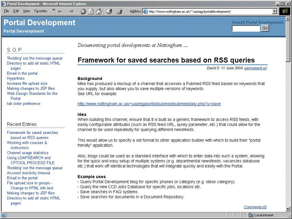 Weblog support