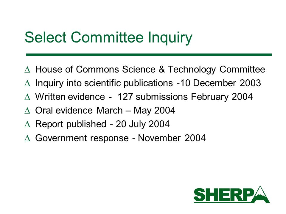 Select Committee Inquiry House of Commons Science & Technology Committee Inquiry into scientific publications -10 December 2003 Written evidence - 127