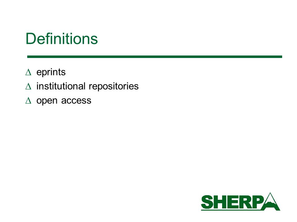Definitions eprints institutional repositories open access